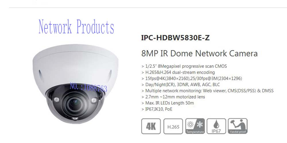 Free Shipping DAHUA Security IP Camera CCTV 8MP IR Dome Network Camera with POE IP67 IK10