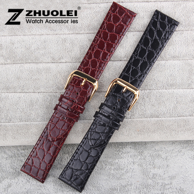 12mm 13mm 14mm 16mm 18mm 20mm Unisex Genuine Leather Black brown Men Women Strap