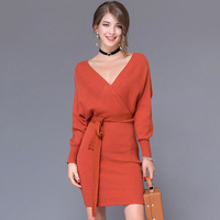 2018 Fashion Cashmere Women Autumn Winter Mini Dresses Solid V Neck Long Batwing Sleeve Elegant Knitted Sweater Dress With Belt
