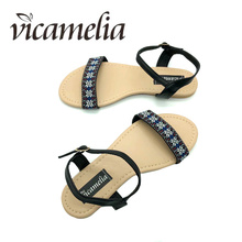 Vicameila Women Sandals Beach Summer Buckle Shoes Flower Embroidery Flat With Casual Vacation Ladies Footwear 558