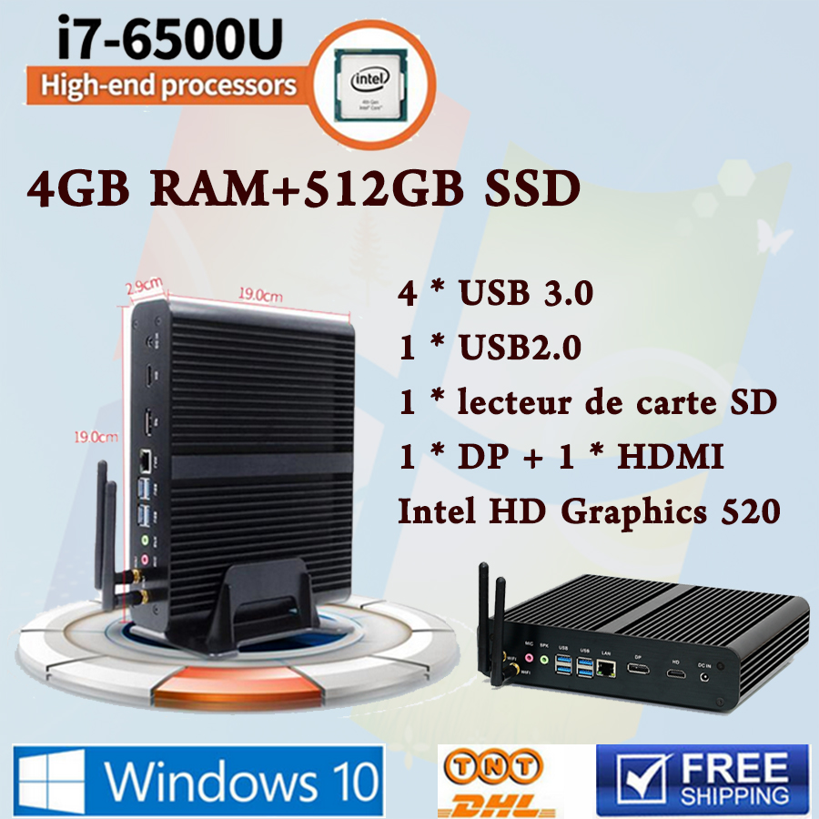 Mini PC  Core i7 6500U Max 3.1 GHz Intel HD Graphics 520 Micro Ordinateur HTPC Windows 10,Linux 4G Ram 6Gen Skylake Fanless guerlain 3 5g