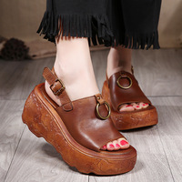 Genuine Leather Sandal For Women Casual Leather Summer Handmade Shoes Slip on Lady Gladiator Sandals 7 CM High Heels Wedge Retro