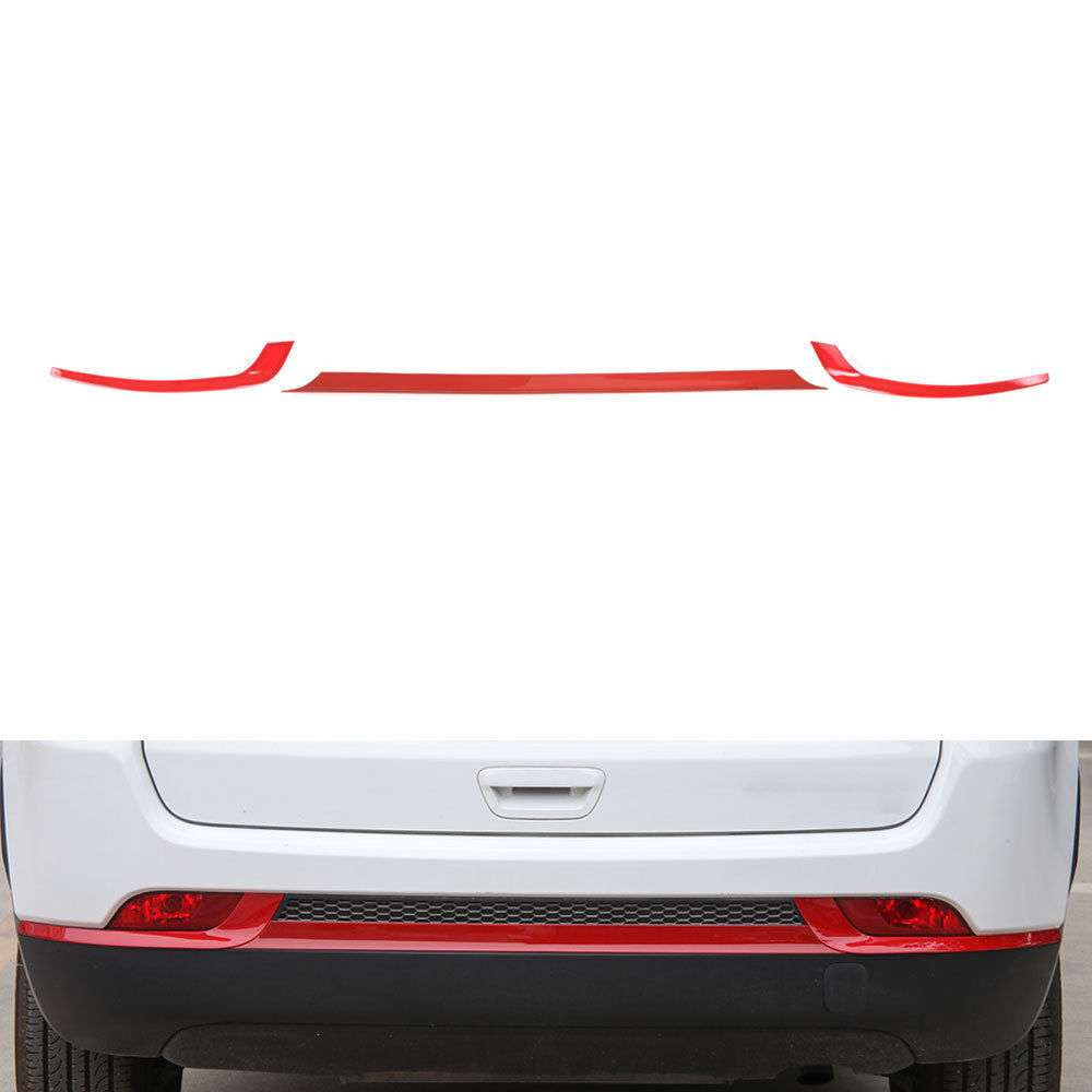 Red or Silver 3pcs/set Car ABS Rear Tail Trunk Bumper Molding Cover Trim Fit For Jeep Compass 2017+ Car Styling Car Accessories  high quality car styling cover detector abs chromium tail back rear license frame plate trim strips 1pcs for su6aru outback 2015