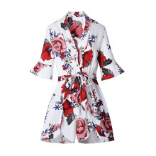 5254b69a585 Sexy Womens V Neck Jumpsuit Floral Printed Ruffle Half Sleeve Rompers Lace  Up Waist Playsuit Summer