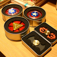 Hand Spinner Batman Captain America Iron Man Fidget Spinner Metal Tri-Spinner Anti Stress Fingertips Toys For Autism and ADHD