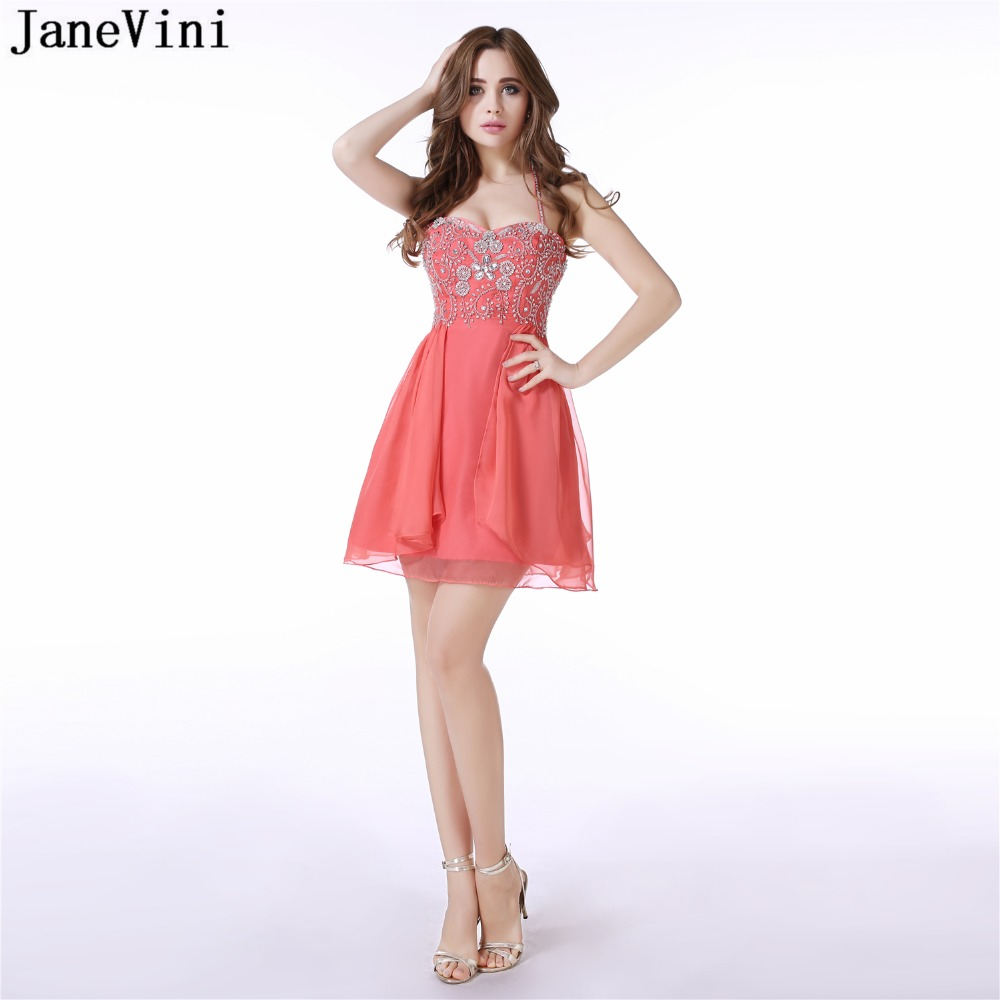 JaneVini Sexy A Line Short   Bridesmaid     Dresses   Halter Mini Chiffon Prom   Dress   Sequined Beaded Backless Wedding Prom Party Gowns