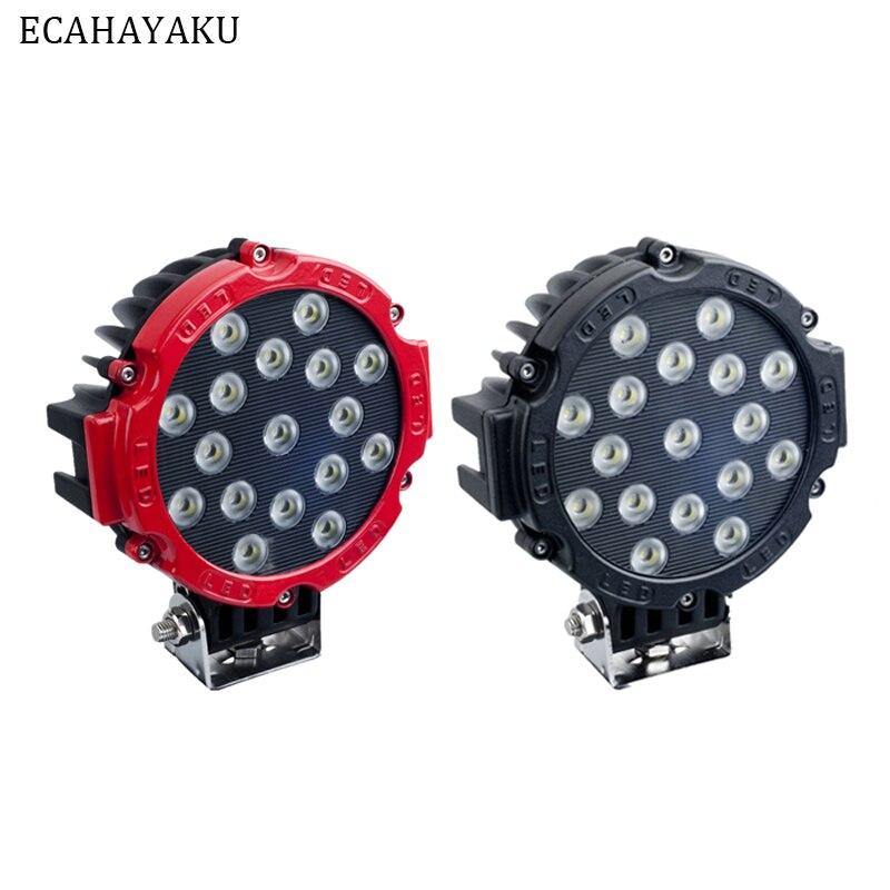 ECAHAYAKU 2Pcs 7Inch 51W Car LED Work Light Bar 12V Round High Power 17x3W Spot For