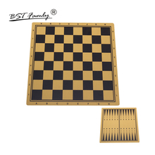 BSTFAMLY MDF Wood Chess Game 44*47cm Checkerboard 47*47 mm Checker International Chessboard and Backgammon Board IB2 bstfamly go chess 19 road chessboard 50 46 0 1cm pu and plush checkerboard old game of go weiqi for 2 2cm piece checker gb08