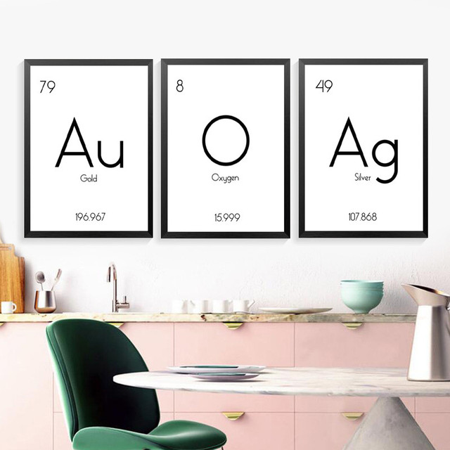 Custom Chemistry Poster Periodic Table Of Element Print Printable Science Art Canvas Painting Wall