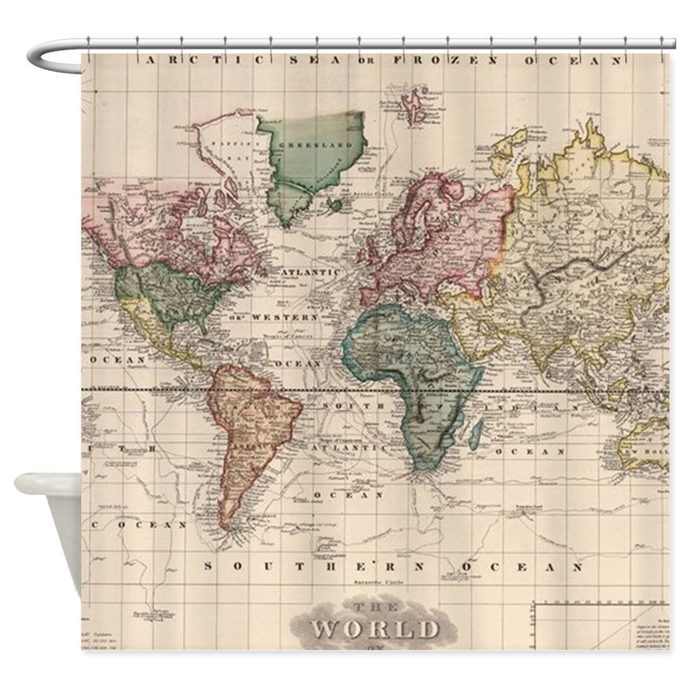 Vintage Map Of The World 1833 Decorative Fabric Shower Curtain For Bathroom With 12 Hooks