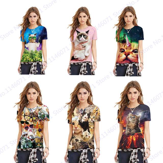ff2b3e97 Adorkable Kitty Women's Short Sleeved Running Tee Shirts Cute Cat Printing  Fitness Gym Yoga Tops Summer Loose Training Sportwear