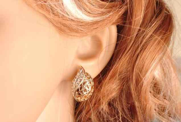 2019 New Hot Fashion Brincos Oorbellen Bijoux Leaf Buds Shape Acacia Leaves Hollow Crystal Stud Earrings For Women Jewelry