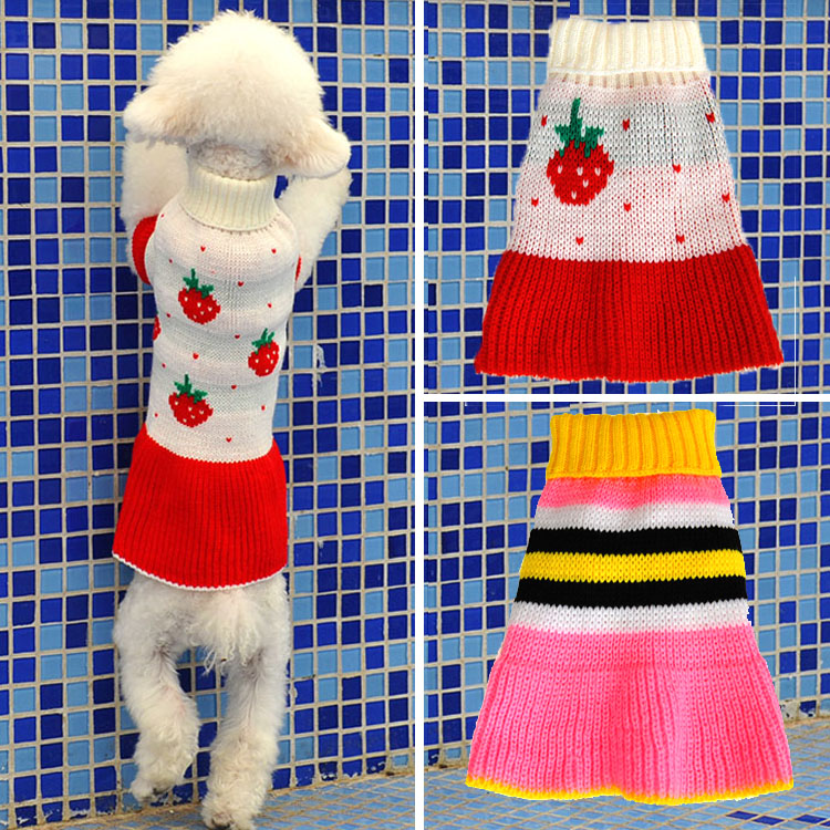 Dog Sweater Fashion Autumn Winter Strawberry Pattern Pet Dog Clothes Knitting...