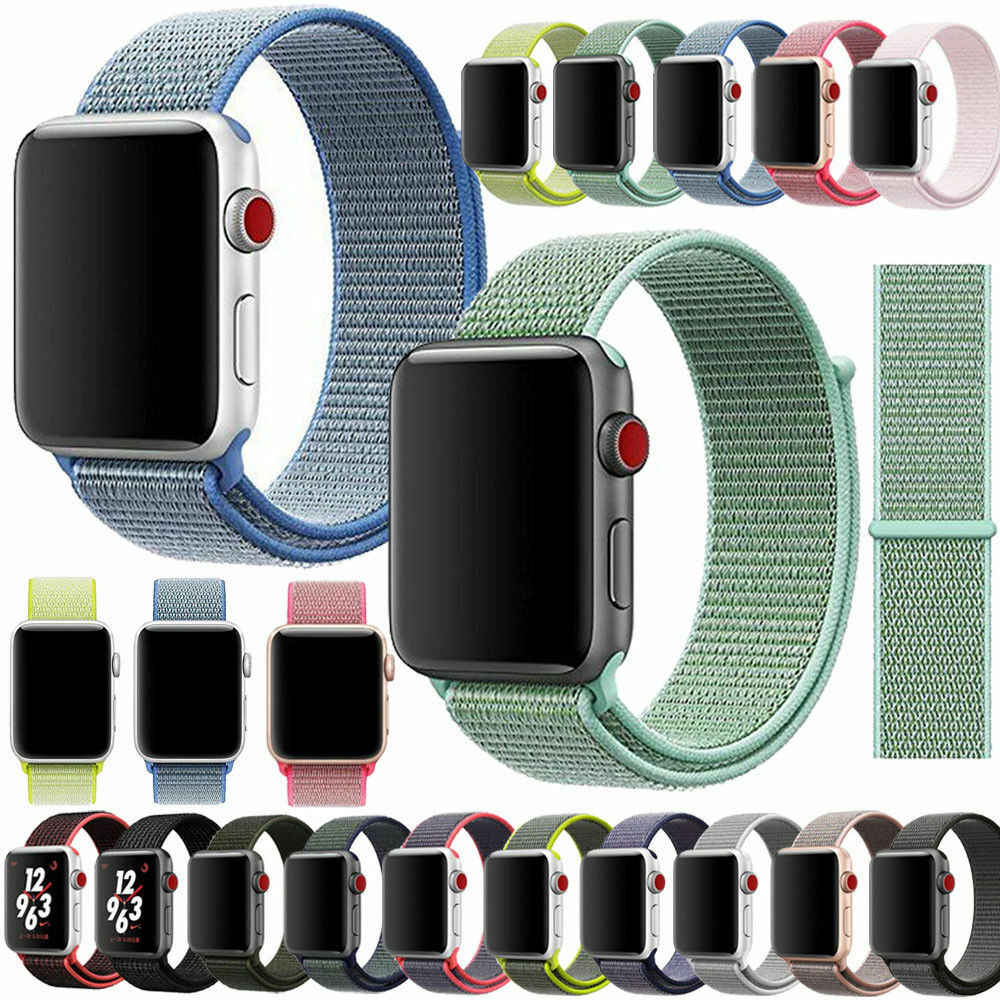 Apple Watch Series 4/3/2/1 38/40/42/44mm Nylon Soft Watchband Smartwatch Men Woman Replacement Strap Sport Bracelet Loop Band