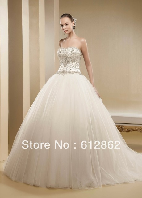 6df41f9ec32a Strapless Sweetheart Beaded Bodice Tulle Skirt Ball Gown Crystal  Embellishments For Wedding Dresses