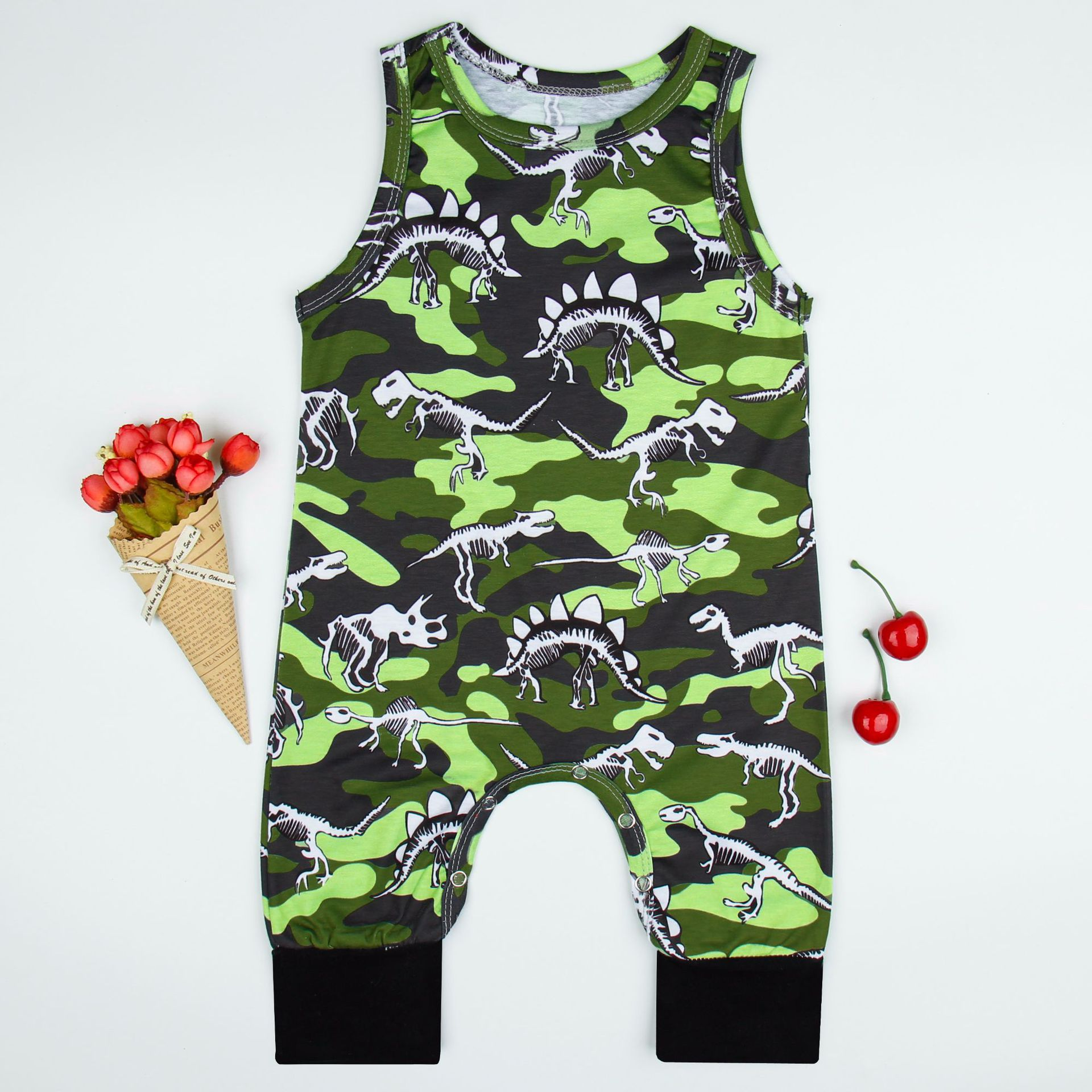 Baby Romper Promotion Special Offer Cotton Unisex Character O-neck Baby Girl 2018 Camouflage Dinosaur With Printed Jumper Suit