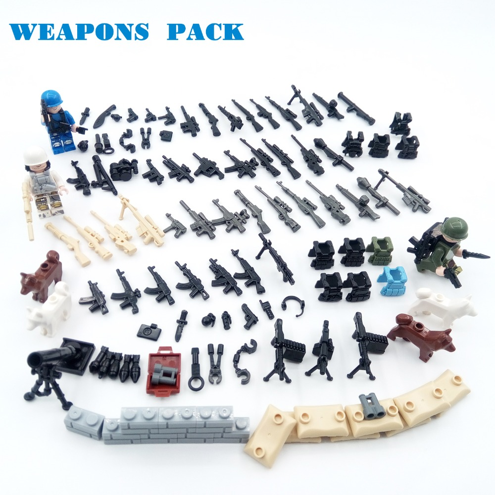 Guns DIY Military Weapons Pack PPsh41 AK K98 SWAT Soldier ARMS Parts WW2 War Police Army building Blocks Brick Compatible legoed pvc building blocks army field combat military escort weapons