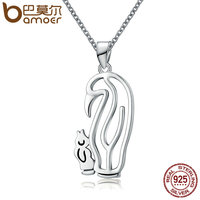 BAMOER Genuine 925 Sterling Silver Penguin Story Geocentric Pendant Necklaces For Women Sterling Silver Jewelry Collares