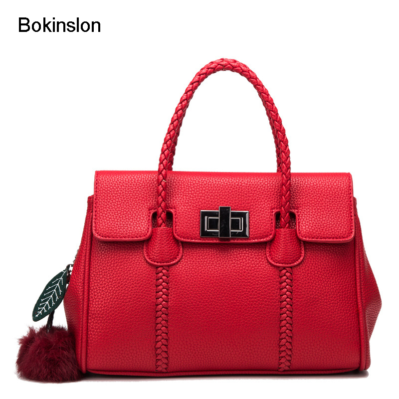 Bokinslon Bags Handbags Famous Women Popular Cow Split Leather Messenger Bag Women's Handbag Fashion Litchi Stripe Girl Bag fashion matte retro women bags cow split leather bags women shoulder bag chain messenger bags