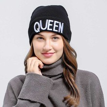 Winter Warm Skullies Beanies Knit KING QUEEN Hat Skullies Bonnet Hats For Men Women Beanie Ski Embroidery Cap цена в Москве и Питере