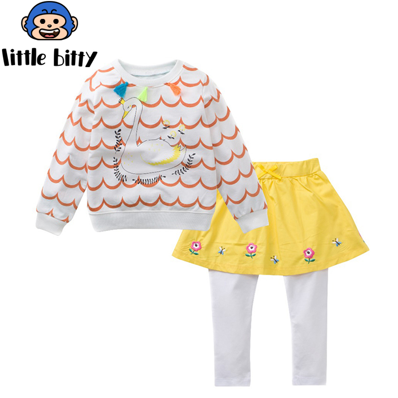 Girls Sets 100% Cotton Long Sleeve Tops +Pants 2017 Brand Spring Autumn Children Clothing Sets Girls Clothes Kids Outfits Rated kids clothing sets for girls spring print denim tops