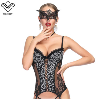 Wechery Corset Leopard Gothic Bustier Sexy Push Up Tops for Women Floral Transparent Leather Corset Hollow Out Pattern Bustiers & Corsets