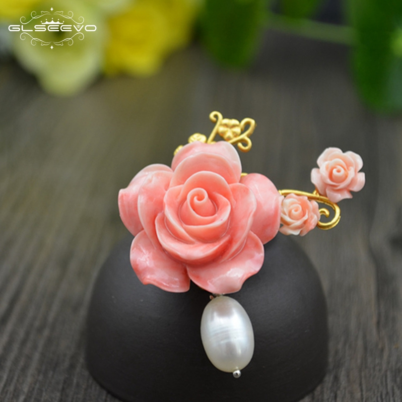 GLSEEVO Natural Fresh Water Pearl Coral Flower Brooch Femme Bijoux Brooches For Women Accessories Dual Use Luxury Jewelry GO0103GLSEEVO Natural Fresh Water Pearl Coral Flower Brooch Femme Bijoux Brooches For Women Accessories Dual Use Luxury Jewelry GO0103