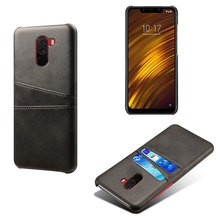 Dual Card Pocket Wallet Phone Case For Xiaomi Pocophone F1 Luxury PU Leather Slim Business Style Back Cover Mi