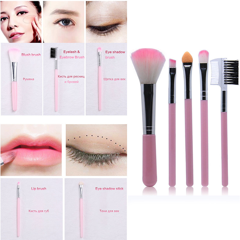 HUAMIANLI 5pcs Makeup Brush Set for Full Eye and Face Makeup Suitable for Eye Shadow Foundation and Compact 1