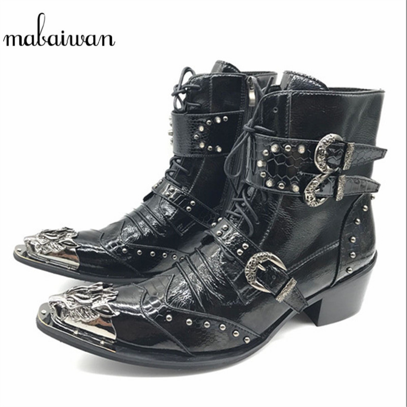 Mabaiwan Punk Style Leather Men Shoes Military Cowboy Ankle Boots High Rubber Boots Metal Pointed Toe Lace Up Buckle Shoes Men brown men ankle boots spring autumn genuine leather cowboy boots pointed toe lace up mens military boots safety shoes footwear