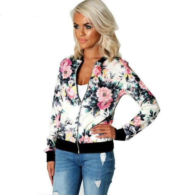 f6f17c87677 Весенние куртки с цветочным принтом женские одноцветное пальто на молнии  куртка-бомбер Повседневная Женская куртка