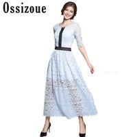 Ossizoue New Early Autumn Woman S Lace Midi Dress Half Sleeve Ladies Elegant A Line Dress