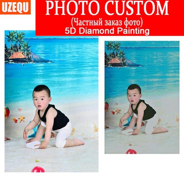 UzeQu DIY Diamond Painting Cross Stitch Private Custom Photo Custom Make Your Own Diamond Embroidery Full Round Mosaic Pattern