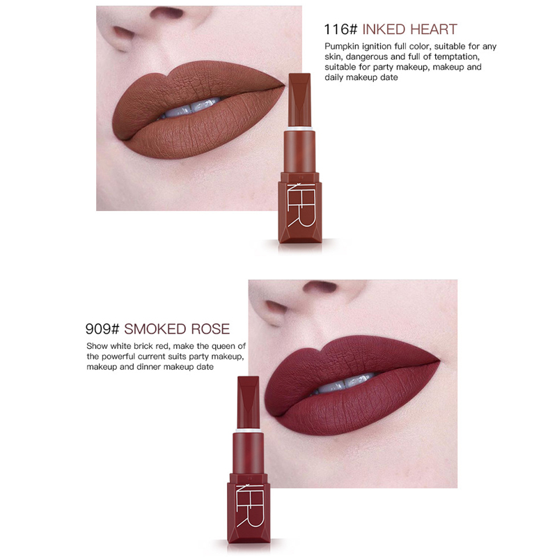Pudaier Matte Lipsticks for Women Long Lasting Vitamin E Moisturizing Lipstick Sexy Brand Pumpkin Color Lips Cosmetics Makeup in Lipstick from Beauty Health