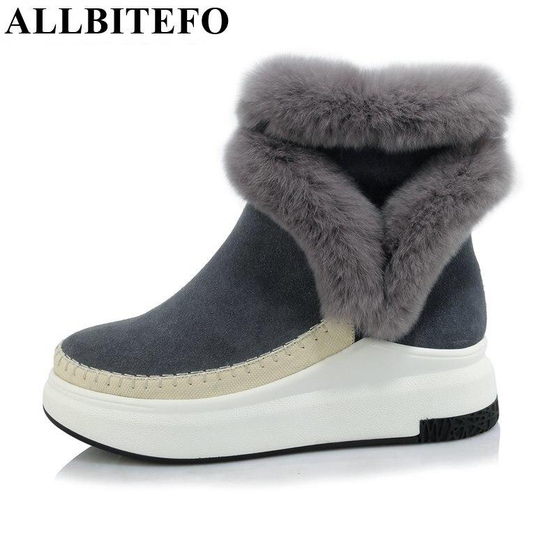 ФОТО ALLBITEFO 2017 new winter full genuine leather flat platform women boots fashion casual high heels snow boots woman mujer botas