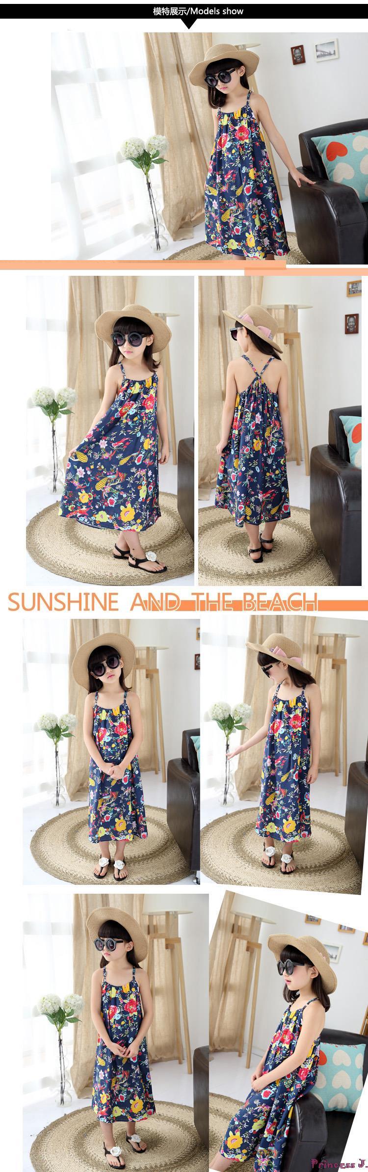 63470fe87 Retail Girls  Flower Printed Beach Dress Summer Style 2019 Kids ...