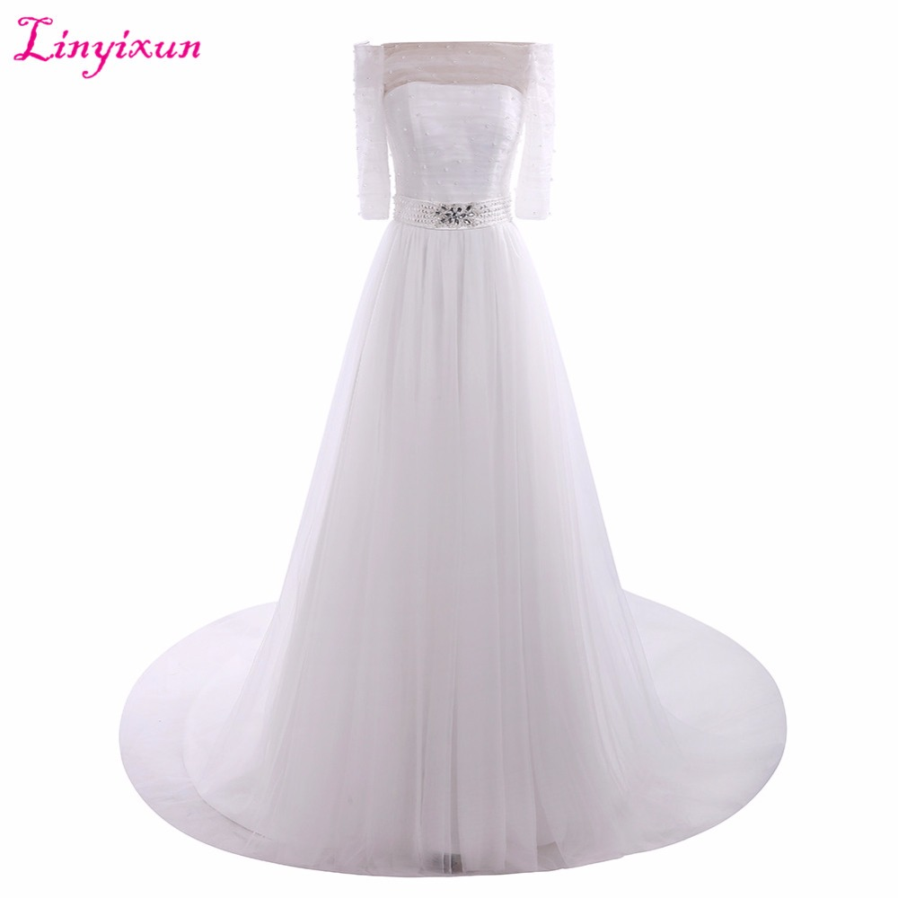 Linyixun Real Photo Robe de mariage Luxury Lace Beaded Wedding Dresses Ball Gown vestido de noiva Lace Wedding Gown 2017 Custom