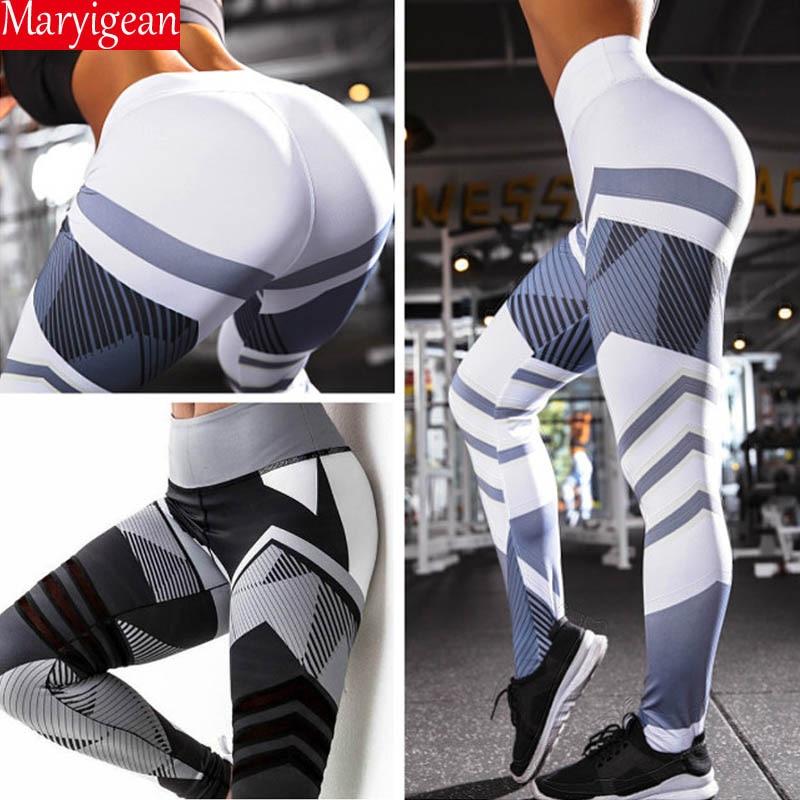 Maryigean 2019 New Activewear High Waist Fitness Leggings Women Pants Fashion Patchwork Workout Legging Stretch Slim Sportswear Price $8.69