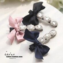 Korea Hair Accessories Flower Full Diamond Ribbon Clips For Women Crystal Haar Accessoires Bows Hairpins Barrette