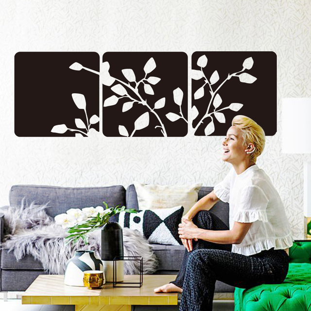 Art Design Beautiful Tree Leaves Wall Sticker Vinyl Square Flowers