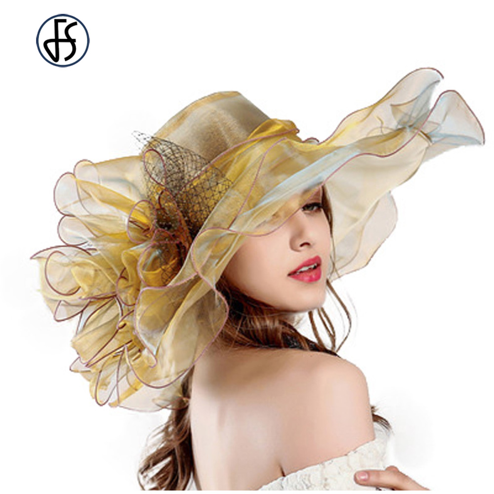 Fashion Summer Organza Kentucky Derby Hats For Women Elegant Laides Church Wedding Wide Large Brim With Big Flower Hat