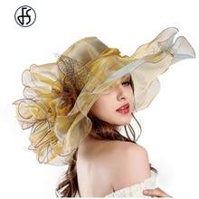 Moda lato Organza Kentucky Derby kapelusze dla kobiet eleganckie Laides kościół ślub szeroki duży rondo z duże kwiatowe kapelusz