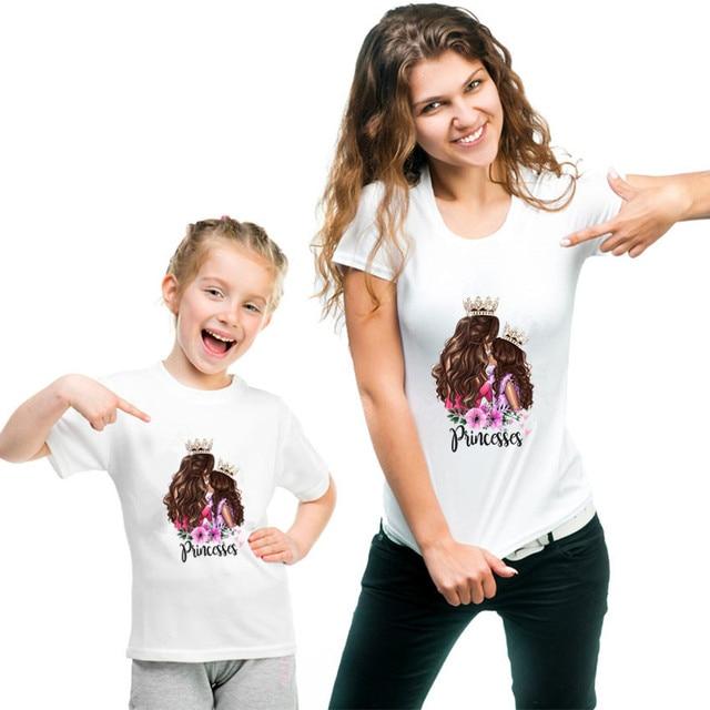 2020 moda mãe filha roupas combinando casual princesa imprimir família t camisa combinando mãe filha roupas femininas tshirt