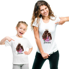 Moda 2019, ropa a juego para madre e hija, camiseta informal con estampado de princesa, camiseta familiar, ropa a juego para madres e hijas, camiseta para mujer