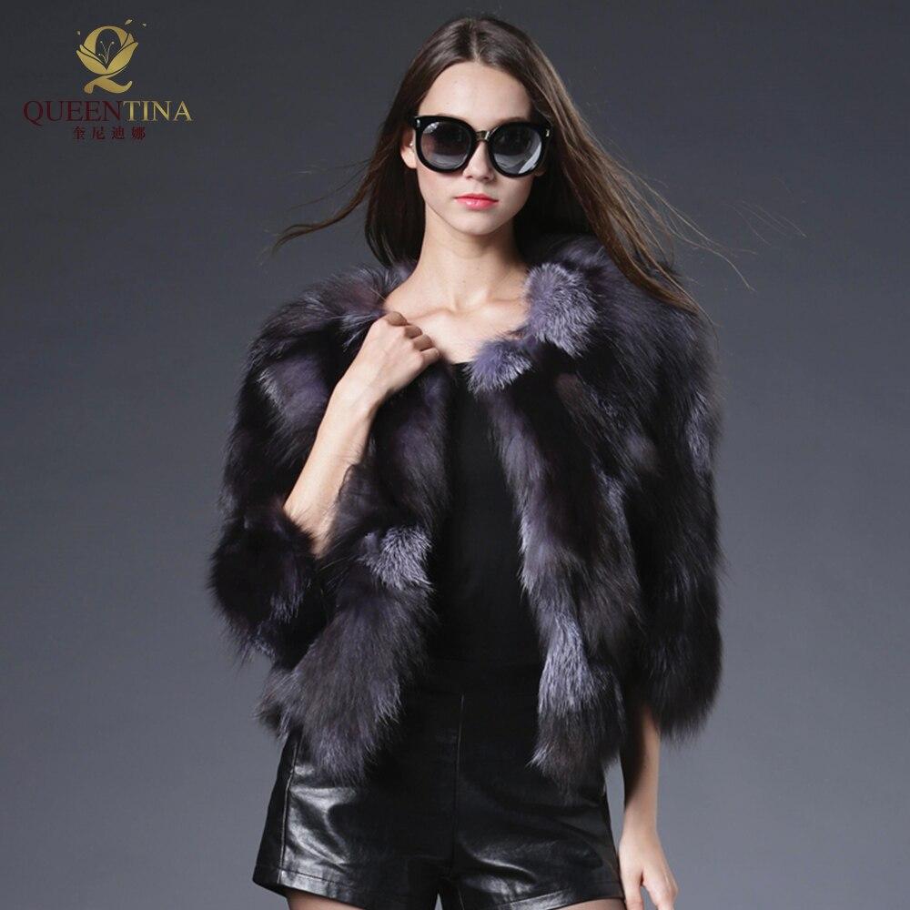 Новый натуральным лисьим мехом пальто куртка Подлинная Silver Fox шубы для Для женщин благородной роскоши натурального меха куртки пальто Для ж...