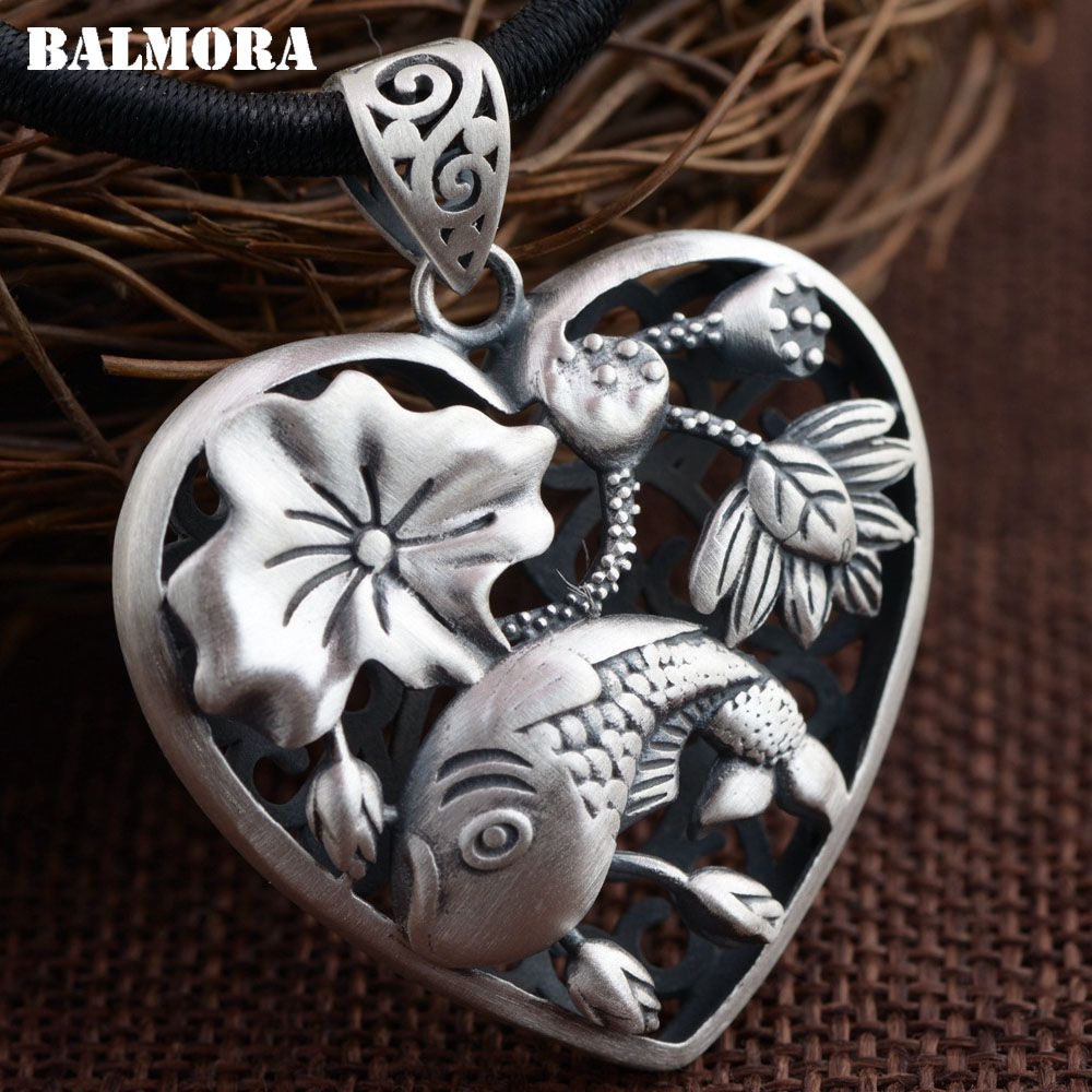 BALMORA 990 Pure Silver Fish & Flower Hollow Pendants for Women Mother Gift Heart Shape Silver Jewelry Without a Chain SY13581 stylish hollow rectangle leaf shape hasp alloy waist chain for women