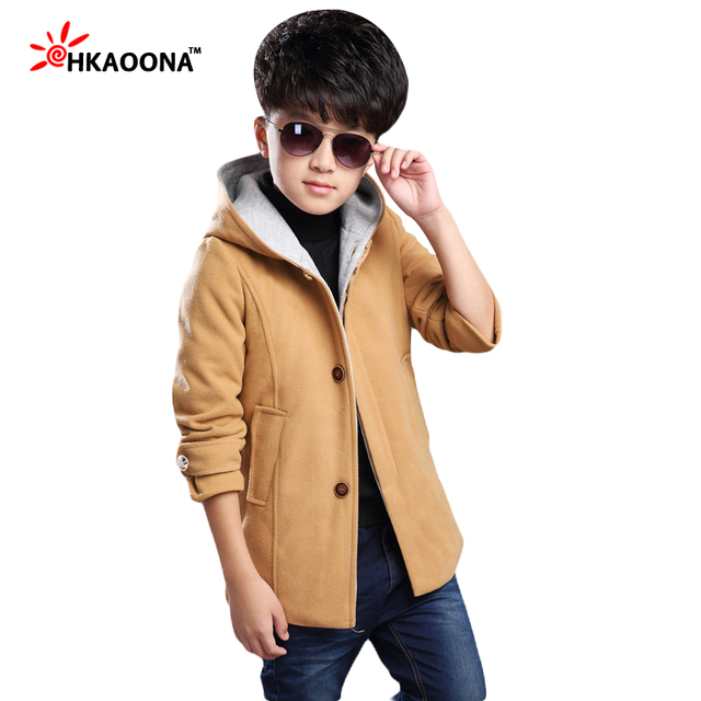 New Winter Kids Wool&Blends Coat Fashion Warm Woolen Hooded Coat For Baby Boys Thicken Warm Kids Clothes Christmas Gift