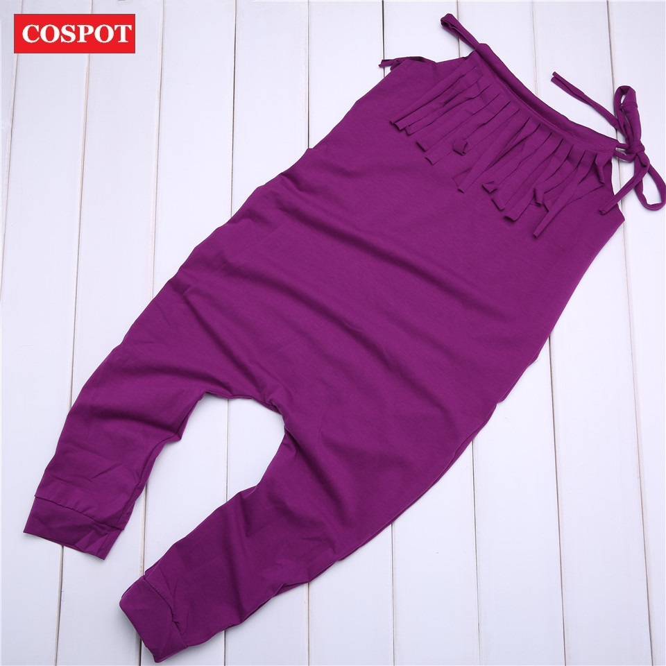 COSPOT Baby Girls Plain Purple Romper Girl Summer Cotton Tassels Jumpsuit Newborn Harem Jumper Girls Fashion Tank Jumper 35