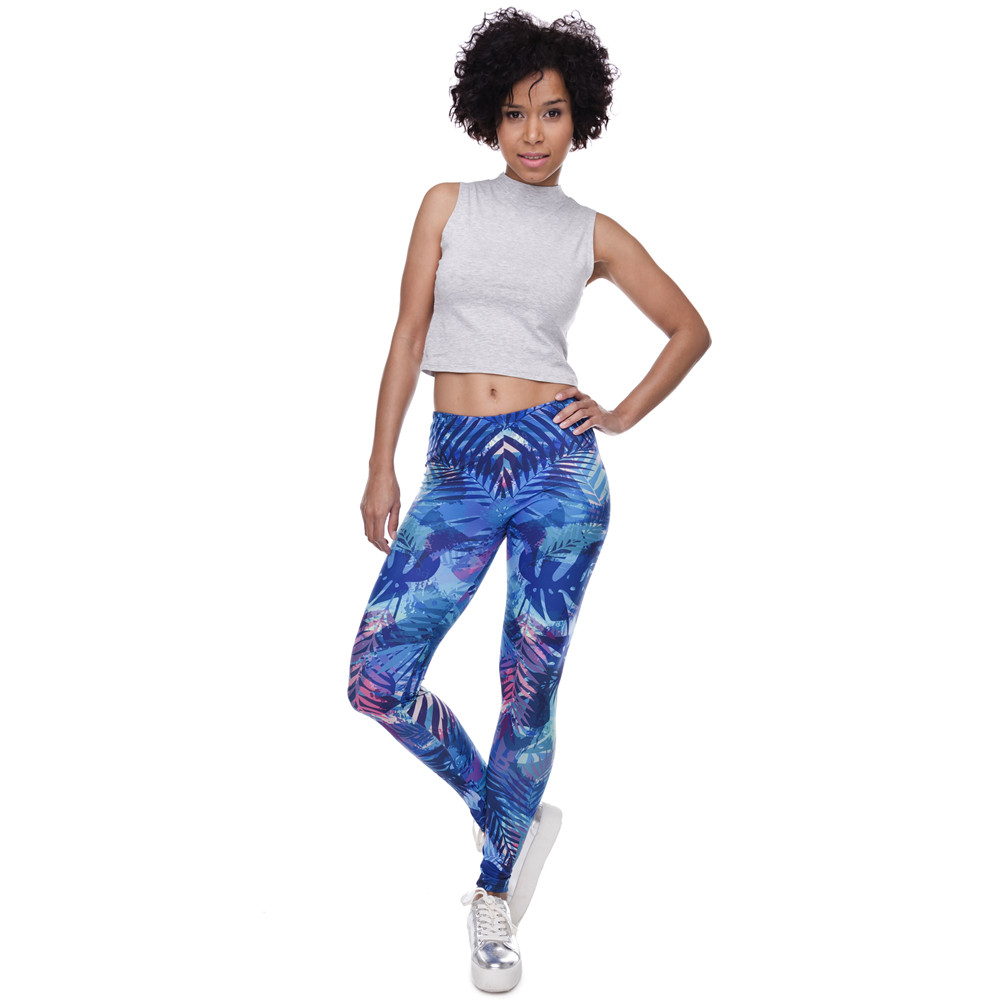 Zohra New Fashion Women Leggings Tropical Leaves Printing Blue Fitness Legging Sexy Silm Legins High Waist Stretch Trouser Pants 14
