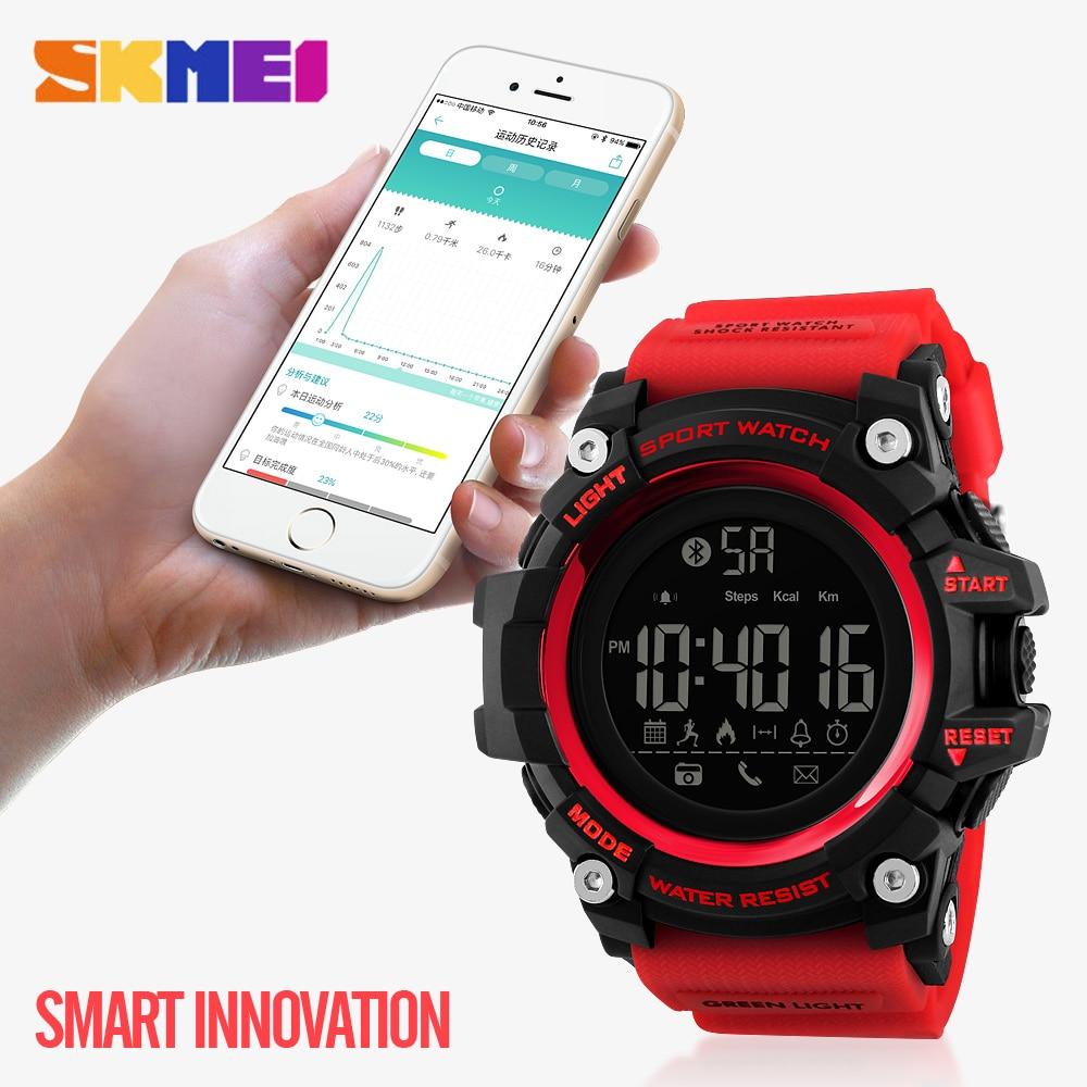 Смарт часы SKMEI мужские, спортивные, водонепроницаемые, с шагомером, цифровые, Bluetooth, электронные, мужские часы